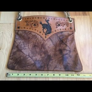 Hand Tooled Bucking Horse Silver Star Purse